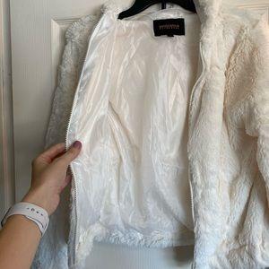 Fuzzy White Jacket with Hood